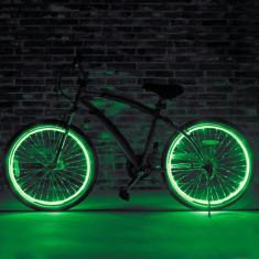 Kit luminos tuning si personalizare roti janta sau jante bicicleta 4 M Verde - Accesoriu Bicicleta, Faruri si semnalizatoare