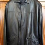 Haina barbateasca din piele naturala, stare noua, productie romaneasca, marimea 54 - Geaca barbati, Culoare: Negru
