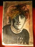 Portret  - tehnica mixta -Poet francez Arthur Rimbaud , dim.= 29,8x40,4 cm