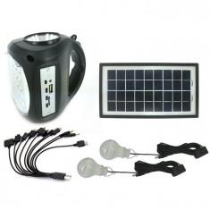 Kit Panou Solar 2 Becuri incarcare telefon Radio USB MP3 lanterna lampa GD8009