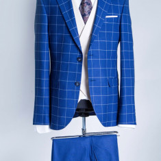 Costum carouri albastru barbati Adriano 2017 model - Sacou barbati, Marime: 48