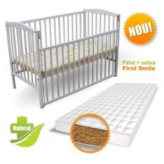 Patut Culisant + Saltea Bio Alb - Patut lemn pentru bebelusi First Smile