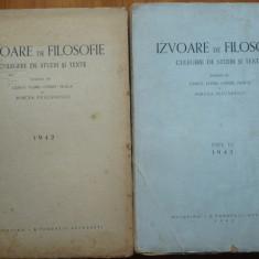 Izvoare de filozofie ; Floru, Noica si Mircea Vulcanescu, 1942 - 43, 2 volume - Carte Editie princeps