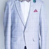 Sacou gri carouri barbati Concetto 2017 model - Sacou barbati, Marime: 48, Culoare: Bleu