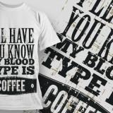 Tricou personalizat Blood Type Coffee printeo
