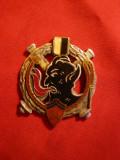 Insigna veche cu diavol ,flacari ,2 scuturi ,arme litere GI ,fara ac,d=4cm