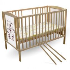 Patut Ursulet - Patut lemn pentru bebelusi First Smile, 120x60cm, Maro