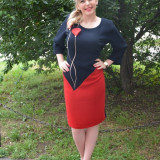 Rochie rafinata, de nunta, de culoare rosu-bleumarin (Culoare: CORAI-BLEUMARIN, Marime: 48) - Rochie de seara