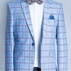 Sacou albastru carouri barbati Antonio 2017 model - Sacou barbati, Marime: 48, Culoare: Bleu