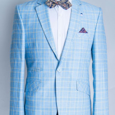 Sacou Bleu carouri barbati Davide 2017 model - Sacou barbati, Marime: 48