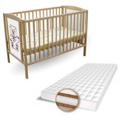 Patut Ursulet + Saltea Aloe Vera - Patut lemn pentru bebelusi First Smile, 120x60cm, Maro