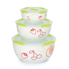 Set 3 boluri ceramice, verzi, Oursson