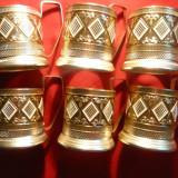 Set 6 suporturi metal aurit si emailat pt. pahare de ceai, h= 9, 5 cm