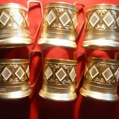 Set 6 suporturi metal aurit si emailat pt. pahare de ceai , h= 9,5 cm
