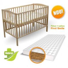 Patut Natur + Saltea Bio - Patut lemn pentru bebelusi First Smile, 120x60cm, Maro