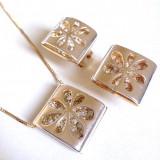 Set bijuterii 3D (colier +pandantiv +cercei)placat cu Aur 18k si Swarovski-1479