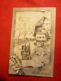 Ilustrata -Felicitare de Paste - Automobil la tara -litografie ,circulat 1916, Circulata, Printata