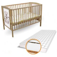 Patut Ursulet + Saltea Cocos cu Hrisca - Patut lemn pentru bebelusi First Smile