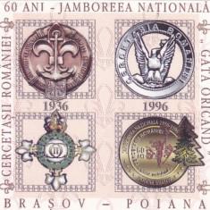 CERCETASII ROMANIEI ,JAMBOREEA NATIONALA  BRASOV,CINDERELLA 1996,MINISHEET.