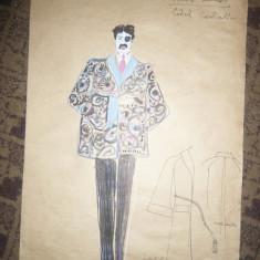 Tablou - Acuarela - Costumul personajului Isidore Lechat ,autor Ctin Russu, Portrete, Altul