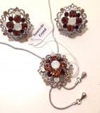 Cumpara ieftin REDUCERE-Set bijuterii dama-IIT(colier+cercei) placat cu Aur 18k si Swarovski