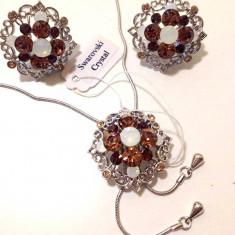 Set bijuterii dama-IIT(colier+cercei) placat cu Aur 18k si Swarovski