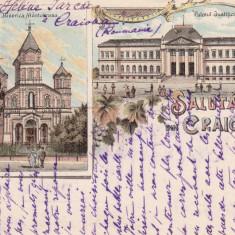 SALUTARI DIN CRAIOVA BISERICA MANTULEASA SI PALATUL JUSTITIEI LITHOGRAFIE - Carte Postala Oltenia pana la 1904, Circulata, Printata