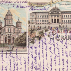 SALUTARI DIN CRAIOVA BISERICA MANTULEASA SI PALATUL JUSTITIEI LITOGRAFIE - Carte Postala Oltenia pana la 1904, Circulata, Printata