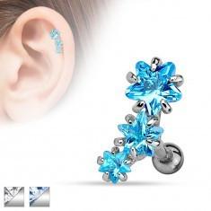 Piercing pentru tragusul urechii,realizat din oţel,arc compus din trei stele din zirconii