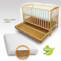 Patut cu Setar Natur + Saltea Bio - Patut lemn pentru bebelusi First Smile, 120x60cm, Maro
