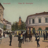 BUCURESTI PIATA SF. GHEORGHE MONUMENT LUPOAICA DROGUERIA MAGAZIN CIRC. 1912 - Carte Postala Muntenia 1904-1918, Circulata, Printata