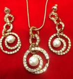 PROMOTIE -Set bijuterii dama(colier +cercei)-placat cu aur 18k