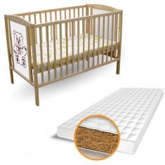 Patut Ursulet + Saltea Bio - Patut lemn pentru bebelusi First Smile, 120x60cm, Maro