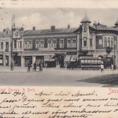 IASSY HOTEL EUROPA A. BUCH TRAMVAIUL ELECTRIC IASI CLASICA CIRCULATA 1901 - Carte Postala Moldova pana la 1904, Printata