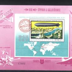 UNGARIA 1977, Zeppelin, Aviatie, MNH, serie completa neuzata - Timbre straine, Nestampilat