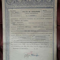 Polita asigurare contra incendiului 1946 - Generala