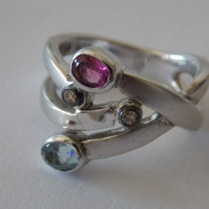 Inel aur cu argint si diamante - 440 - Inel diamant, Carataj aur: 18k, Culoare: Alb