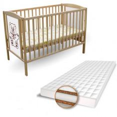 Patut Ursulet + Saltea Coco Lux - Patut lemn pentru bebelusi First Smile, 120x60cm, Maro