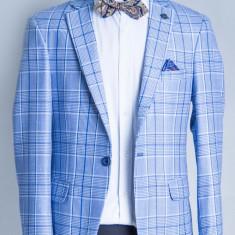 Sacou albastru carouri barbati Dino 2017 model - Sacou barbati, Marime: 48