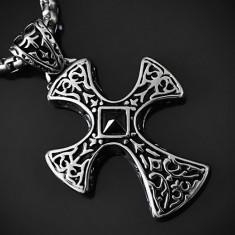 Pandantiv Cruce/Cruciuliţă Celtica cu Piramida din Onix INOX - cod PND005