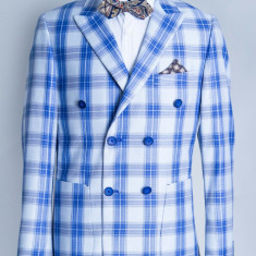 Sacou albastru carouri barbati Fabiano 2017 model - Sacou barbati, Marime: 48