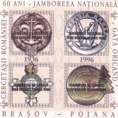 CERCETASII ROMANIEI ,JAMBOREEA NATIONALA  BRASOV,CINDERELLA 1996,MINISHEET O/P.