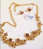 REDUCERE-Set bijuterii dama -colier si cercei -placat cu Aur 18k si Swarovski