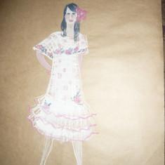 Tablou - Acuarela - Costumul personajului Germaine Lechat ,autor Ctin Russu, Portrete, Altul