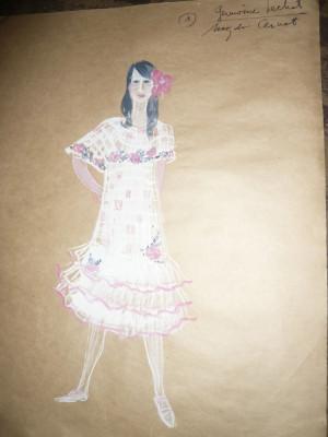 Tablou - Acuarela - Costumul personajului Germaine Lechat ,autor Ctin Russu foto