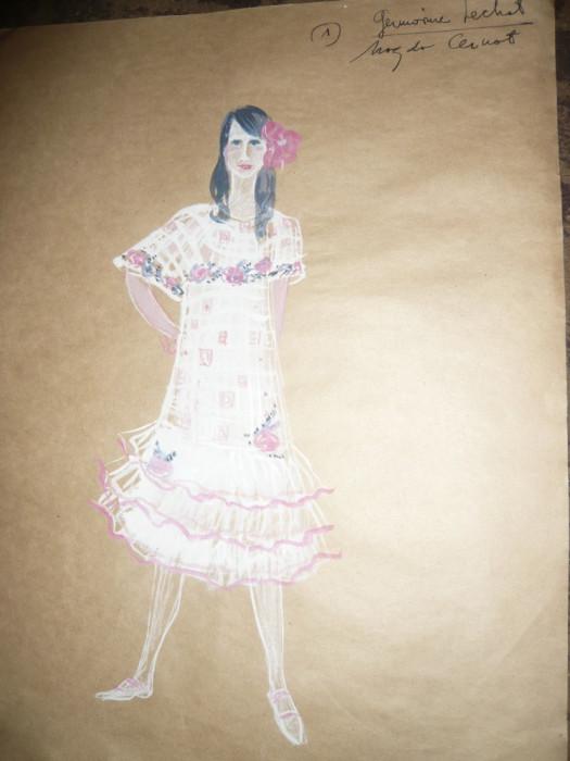Tablou - Acuarela - Costumul personajului Germaine Lechat ,autor Ctin Russu