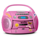 Auna Boomgirl, radio recorder portabil, CD, USB, MP3, baterii, set de autocolante - CD player