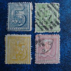 SERIE INCOMPLETA VECHE 1866 URUGUAY / AMERICA DE SUD, Stampilat