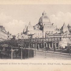 BUCURESTI CASA DE DEPUNERI HOTEL DE FRANCE PERSPECTIVA STR. MIHAI VODA CLASICA - Carte Postala Muntenia pana la 1904, Necirculata, Printata