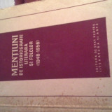 MENTIUNI DE ISTORIOGRAFIE LITERARA SI FOLCLOR DE PERPESSICIUS - Carte folclor